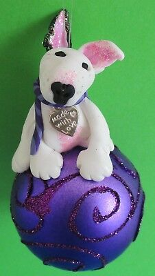 English bull terrier, Christmas decoration,  bullie bauble, unique, handmade
