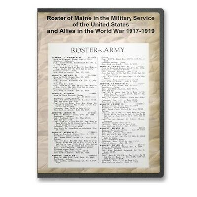 Roster of Maine in the Military Service U.S. & Allies in  World War I CD - D489
