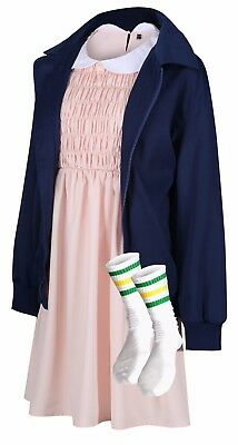 Eleven Jacket Dress & Socks Stranger Cosplay Costume Fancy Dress Things Outfit