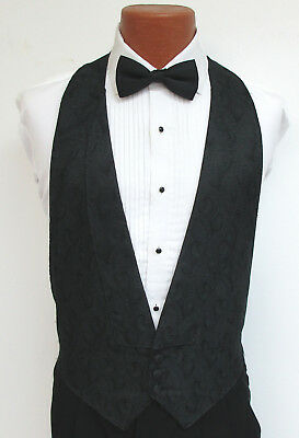 Black Paisley Open Back/Backless Tuxedo Vest & Optional Black Bow Tie