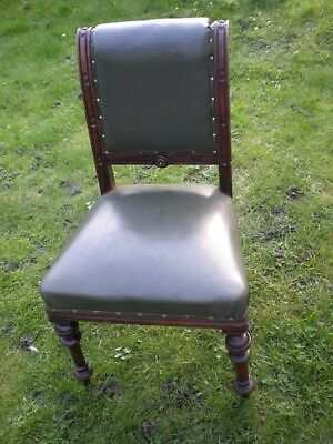 Antique Victorian Library Office Chair Green Leather Seat solid heavy Mahogany A