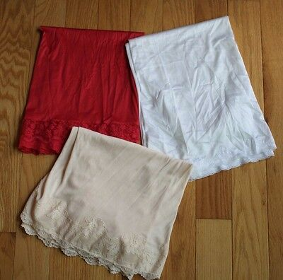 Vintage Lot of 3 Skirt Half Slips Red Peach & White Floral Lace Patricia & Corah