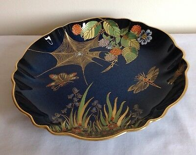 "Art Deco Carlton Ware Lustre Enamels ""Spiders Web"" Pattern Blue Shaped Bowl"
