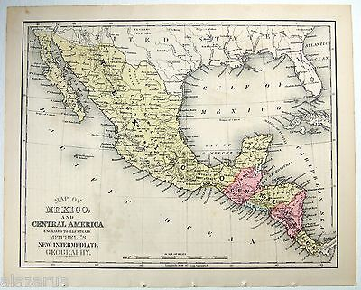 Original 1869 Mitchell's Copper-Plate Map of Central America - Hand Colored