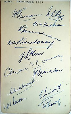 New Zealand To England 1937 - Cricket Autograph Album Page Inc Walter Hadlee