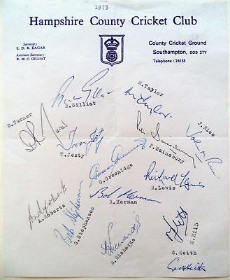 Hampshire 1975 County Championship – Cricket Official Autograph Team Sheet