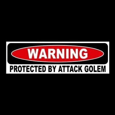 """Funny """"PROTECTED BY ATTACK GOLEM"""" window decal STICKER Dungeons & Dragons D&D"""