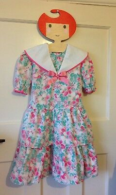 Vintage 1980s girl's dress Ladybird age 5-6 Years Nautical Collar floral Romany