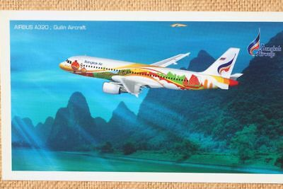 AK Airliner Postcard BANGKOK AIRWAYS A320 airline issue longer size
