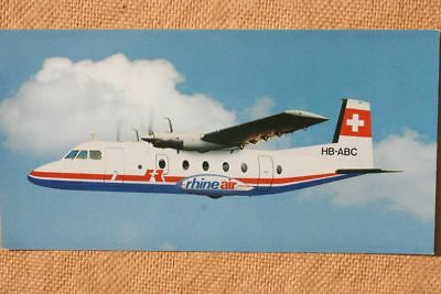 AK Airliner Postcard RHINEAIR Nord 262 airline issue longer size