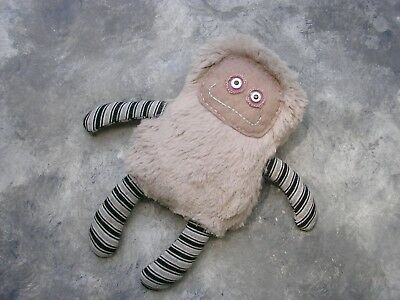 Handmade fantasy sewing fuzzy plush gray Monster toy stuffed doll ooak