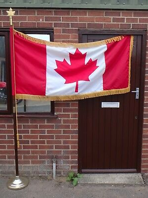 Large vintage Canadian ceremonial flag flagpole solid wood brass maple finial