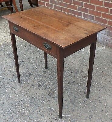 George III antique farmhouse solid rustic oak 1 drawer side console hall table