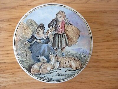 Prattware pot lid Lady  Boy and Goats
