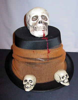 **reduced Price**  Halloween Bloody Skull Top Hat Handcrafted
