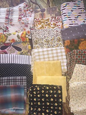 Vintage retro quilting fabric scrap lot in Earth tones, retro patterns  2.6 lbs