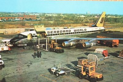 AK Airliner Postcard SEABOARD WORLD DC-8 airline issue