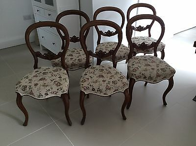 Antique Set Of 6 Balloon Back Chairs