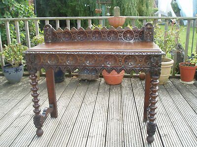 Victorian Ornately Carved Oak Hall Table