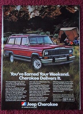 1981 Print Ad Jeep Cherokee Chief Sportwagon Truck ~ You've Earned Your Weekend