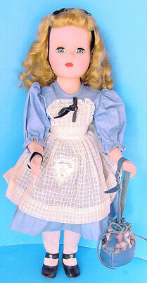 "1950s MADAME ALEXANDER 18""  MARGARET FACE DOLL w BLUE DRESS & APRON"