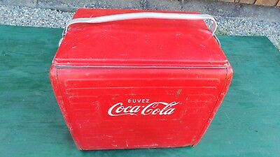 Vintage Red COCA COLA Cooler Chest with Lid Drink Soda Great for Decoration