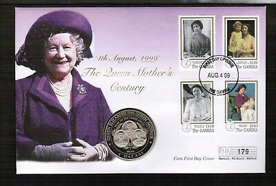 Gambia 1999 Queen Mother 1 Dalasi Coin Cover