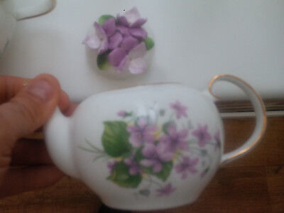 """Royale Stratford The Country Cottage Teapot Selection """"sweet Violets"""" Design"""