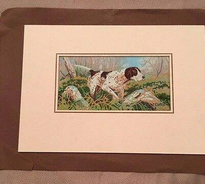 English Cash's Silk Embroidered Woven Pictures Steam Hunting Dog