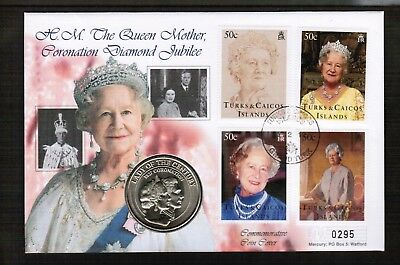 Turks & Caicos Queen Mother 5 Crowns Coin Cover