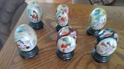 Lot Of 6 Decorative Oriental Porcelain Eggs /stands Hand Painted