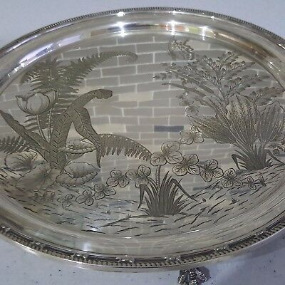 Large Antique Silver Plated Salver Engraved With Flowers & Butterfly