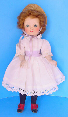 "1950s MADAME ALEXANDER 15"" FLORA MCFLIMSEY DOLL in TAGGED DRESS, LAVENDER RIBBON"