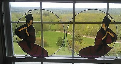 Stained Glass Round Window ORIENTAL MAN 2 -18 INCH CIRCLES