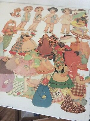 Lot Of vintage Paper Polly Pepper Dolls W/outfits cut 53 pcs