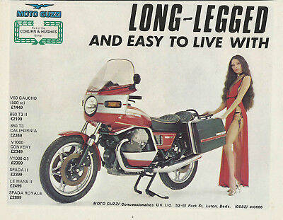ONE ONLY! ORIGINAL 1970s SEXY MOTO GUZZI SPADA  1000SP UK IMPORTER POSTER/AD