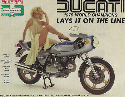1 Only Original 1979 Sexy Ducati 900 Darmah Ss Bevel Desmo Uk Importer Poster/ad