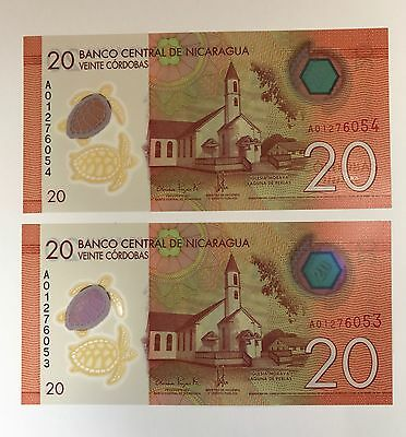 Nicaragua 20 Cordobas 2014 Issue Polymer P211 Unc Sequential Serial Number Notes