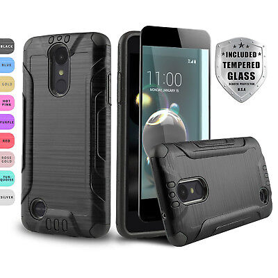 Brushed Shockproof Cover Phone Case For [Lg Phoenix 4] +Black Tempered Glass