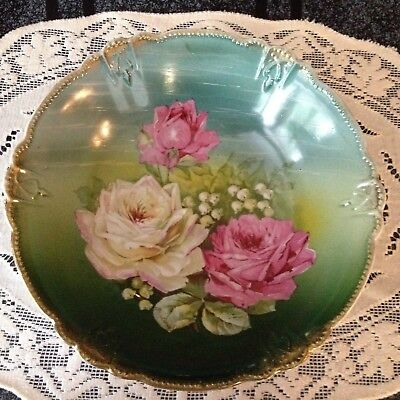 Antique Altenburg Germany Stunning Hand Painted Rose & Liiy Of The Valley Signed