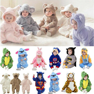 Newborn Infant Baby Boys Girls Romper Hooded Jumpsuit Bodysuit Outfit Clothes
