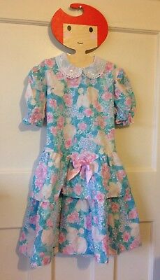 Vintage 1980s girl's dress Ladybird age 5-6 Years Peter Pan Collar floral Romany