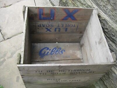 Old wooden crate made from pieces of wood from branded packing cases.