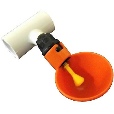 """(3) Automatic Waterer Drinker Cups & 1/2"""" Pvc Tee Fitting Chicken Water Poultry"""