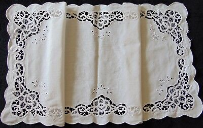 Vintage Superb Scrolled Embroidery Snow-Cotton Runner -  Immaculate