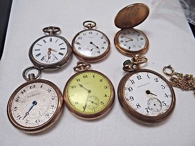 (6) Count Pocket Watch Lot Illinois, Elgin, Standard,  and More - SOLD OR PARTS