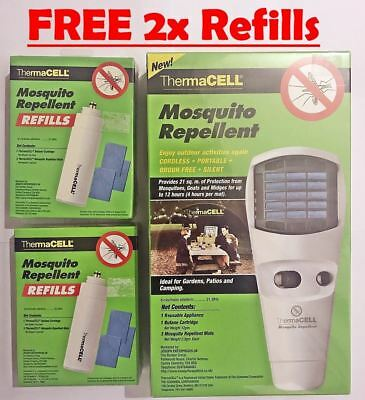 New In Box ThermaCell Mosquito Repelent SILENT & PORTABLE + 2x Refills Pack FREE