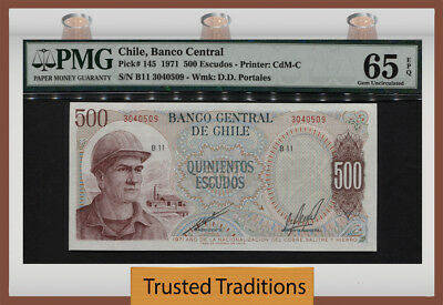 Tt Pk 145 1971 Chile 500 Escudos Pmg 65 Epq Gem Unc Pop Two Only One Finer!