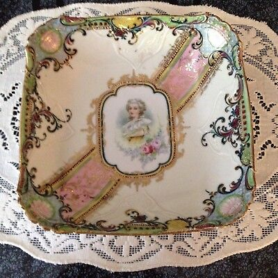 Antique NPSK 1852-1903 Handpainted Marie Antoinette Commemorative Square Bowl