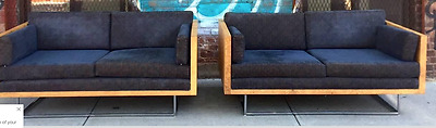 Milo Baughman Sofas Floating Burl Wood Case Love Seat Settee Black Leather Eames
